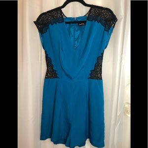 Bebe Blue And Black Lace Romper•Size 6